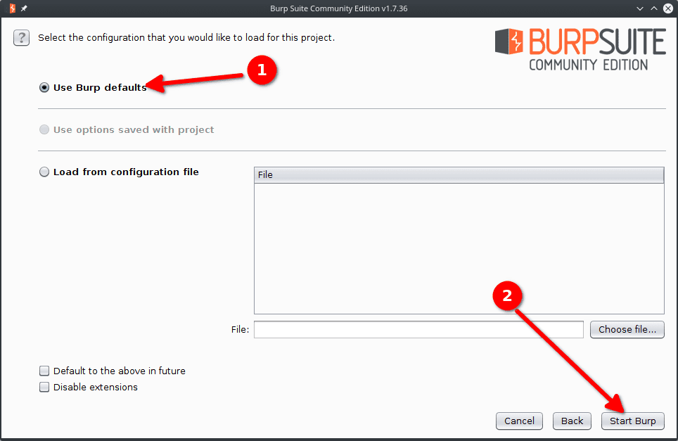 burp suite default configuration