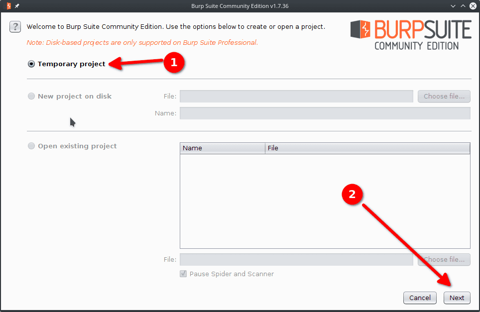 burp suite temporary project